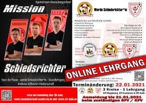 Werbeplakat für den kommenden Schiedsrichter-Lehrgang
